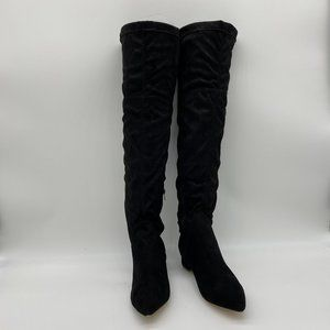 Black Suede Pointy Toe Low Heel Long Boots Pumps